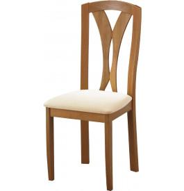 Chaise hêtre massif teinté merisier dos sculpté assise tapissée tissu ivoire
