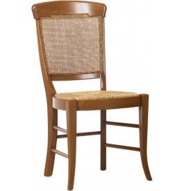 Chaise hêtre massif teinté merisier dossier canné assise paille