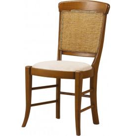 Chaise hêtre massif teinté merisier dossier canné assise tapissée tissu blanc