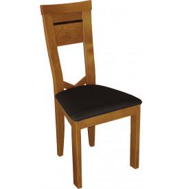 Chaise hêtre massif teinté merisier dossier courbé assise tapissée simili cuir noir