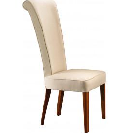 Chaise hêtre massif tissu blanc dossier haut