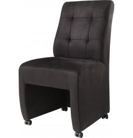 Chaise Microfibre Noir Capitonnee Sur Roulettes