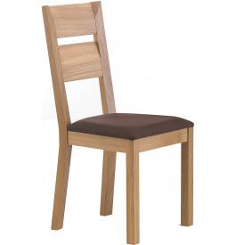 Chaise moderne chêne marron clair assise garni chocolat pieds cintrés - NOEMIE