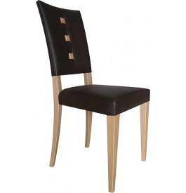 Chaise moderne hêtre marron clair assise et dossier garnis chocolat boutons décoratif – TALIA