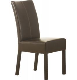 Chaise simili cuir chocolat dossier loom