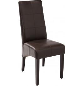 Chaises ELOISE PU chocolat assise et dossier avec coutures décoratives (x2)