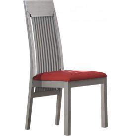 Chaise ch ne massif gris dossier haut barreaux meuble for Chaise a barreaux