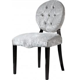 Chaises dossier médaillon capitonnées chêne massif assise velours gris (x2)