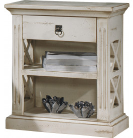 Chevet blanc 1 tiroir 1 étagère décors croisillons