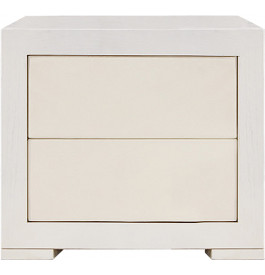 Chevet design ch ne blanc 2 tiroirs simili cuir blanc - Table de chevet cuir blanc ...