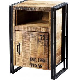 chevet industriel 1 porte 1 niche acacia m tal. Black Bedroom Furniture Sets. Home Design Ideas
