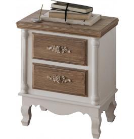 Chevet pin massif blanc 2 tiroirs brun blanchi