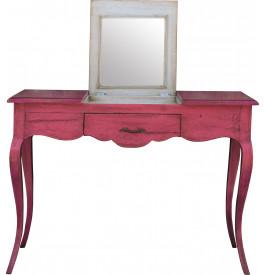 Coiffeuse chêne massif rose 1 tiroir 3 abattants pieds galbés - Miroir relevé