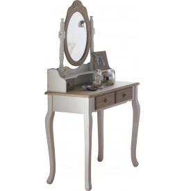 Coiffeuse miroir pin massif blanc 4 tiroirs brun blanchi