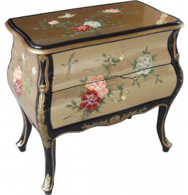 Commode chinoise laque d'or 2 tiroirs