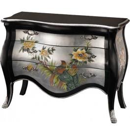 Commode chinoise laque noire et argent motifs fleurs 3 tiroirs