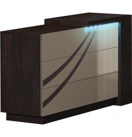 Commode design 3 tiroirs chêne chocolat laque taupe avec module