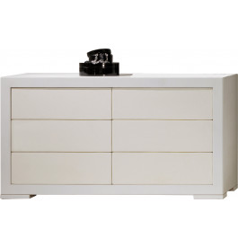 Commode design ch ne blanc 6 tiroirs simili cuir - Commode 6 tiroirs blanc ...
