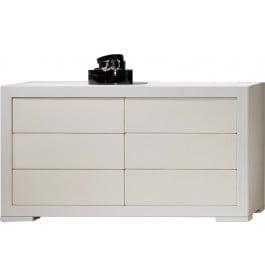 commode design ch ne blanc 6 tiroirs simili cuir. Black Bedroom Furniture Sets. Home Design Ideas