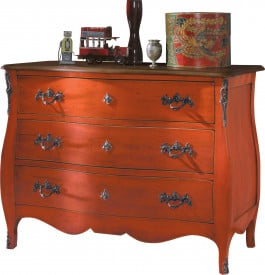 Commode galbée orange 3 tiroirs