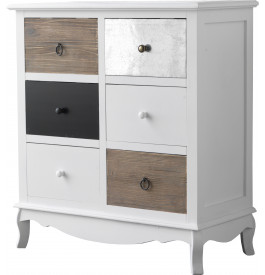 Commode sapin laqu blanc 6 tiroirs assortis - Commode 6 tiroirs blanc laque ...
