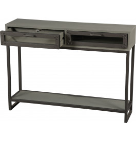 console double plateau industriel mindi gris 2 tiroirs acier. Black Bedroom Furniture Sets. Home Design Ideas