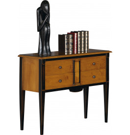 console merisier massif patin noir pieds fuseaux 2 tiroirs. Black Bedroom Furniture Sets. Home Design Ideas
