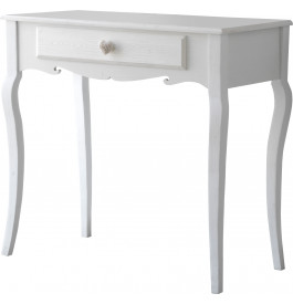 console pin massif blanc 1 tiroir pieds galb s. Black Bedroom Furniture Sets. Home Design Ideas