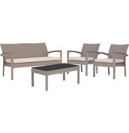 Ensemble 4 places canapé fauteuils table résine taupe avec coussins beiges
