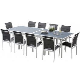 Ensemble Modulo 10 table rectangulaire L135 10 fauteuils aluminium blanc