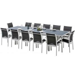 Ensemble Modulo 12 table rectangulaire L200 12 fauteuils aluminium blanc