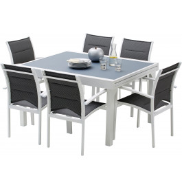 Ensemble Modulo 6 table rectangulaire L135 6 fauteuils aluminium blanc