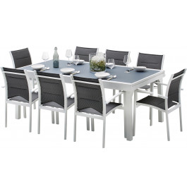 Ensemble Modulo 8 table rectangulaire L200 8 fauteuils aluminium blanc