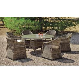 Ensemble jardin résine brun et verre trempé 6 chaises 1 table ronde Ø150