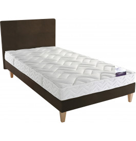 Ensemble literie 90x190 Matelas DUNLOPILLO SIDE10 latex + Sommier ECOSOM chocolat