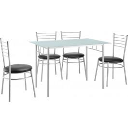 Ensemble table et chaises x4 métal plateau verre