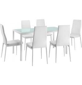 Ensemble table et chaises x6 blanc métal plateau verre