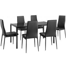 Ensemble table et chaises x6 noir métal plateau verre