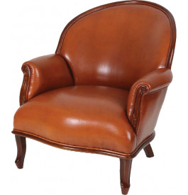 Fauteuil Club Nice cuir havane dossier rond