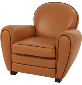 Fauteuil Club PVC cappuccino dossier rond