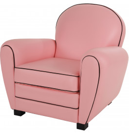 fauteuil club pvc rose chamallow dossier rond. Black Bedroom Furniture Sets. Home Design Ideas