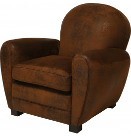 fauteuil club microfibre vieillie chocolat dossier rond. Black Bedroom Furniture Sets. Home Design Ideas