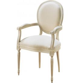 Fauteuil Louis XVI hêtre massif laqué blanc tissu blanc