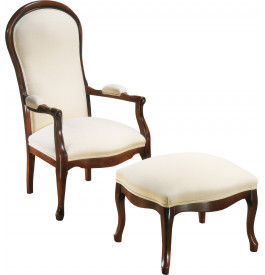 Fauteuil voltaire h tre massif tissu blanc fauteuil de salon salon - Fauteuil voltaire blanc ...