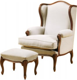 fauteuil berg re louis xv h tre massif teint merisier dor tissu blanc. Black Bedroom Furniture Sets. Home Design Ideas