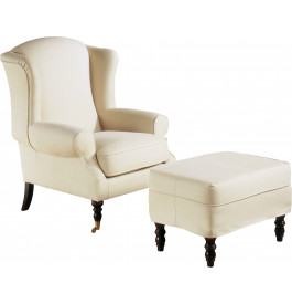 fauteuil berg re h tre massif teint merisier dor tissu blanc pieds roulettes. Black Bedroom Furniture Sets. Home Design Ideas