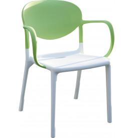 Fauteuil de jardin plastique bicolore blanc et vert anis