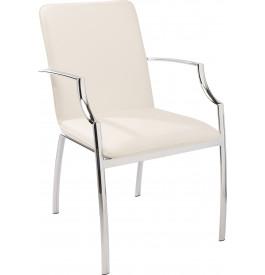 Fauteuil design BOSTON PU blanc accoudoirs acier