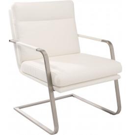 Fauteuil design MANGO PU blanc pieds S en acier