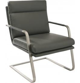 Fauteuil design MANGO PU gris pieds S en acier